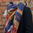 Model with Personalised Embroidered Blue and Red Tartan Scarf