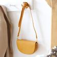 Lisa Angel Vegan Leather Half Moon Crossbody Bag in Mustard