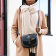 Personalised Vegan Leather Crossbody Handbag in Black on Model