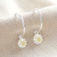 Lisa Angel Ladies' Estella Bartlett Daisy Charm Hoop Earrings in Silver
