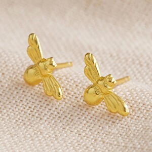 Gold Sterling Silver Bumblebee Stud Earrings