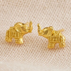 Gold Sterling Silver Dotted Elephant Stud Earrings