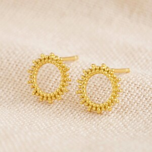 Gold Sterling Silver Dotted Sun Stud Earrings
