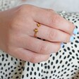 Adjustable Gold Sterling Silver Triple Dot Ring on Model
