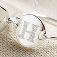 Lisa Angel Engraved Personalised Initial Sterling Silver Disc Ring