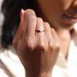 Rose Gold Sterling Silver Crystal Ring on Model