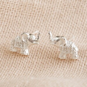 Sterling Silver Dotted Elephant Stud Earrings