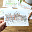 Lisa Angel Owen Mathers Colourful Illustrated Norwich Train Station Card