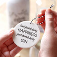 Lisa Angel White Ceramic 'Great Friends Bring Gin' Hanging Decoration