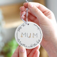 Lisa Angel White Ceramic 'Little Moments, Best Memories' Mum Hanging Decoration