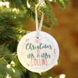 Personalised Married 'Couple's First Christmas' Ceramic Hanging Decoration