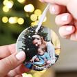 Personalised Photo Round Ceramic Hanging Christmas Decoration