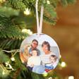 Personalised Family Photo Round Ceramic Festive Hanging Decoration