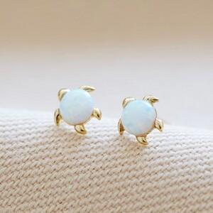 Opal Stone Turtle Stud Earring in Gold