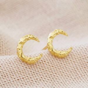 Organic Finish Moon Stud Earrings in Gold