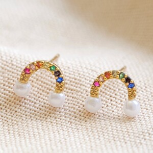 Pearl and Crystal Rainbow Stud Earrings in Gold