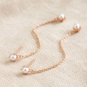 Pearl Drop Chain Earrings in Rose Gold
