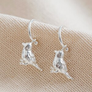 Silver Bird Charm Hoop Earrings