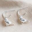 Ladies' Silver Bird Charm Hoop Earrings