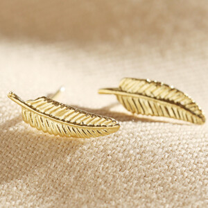 Delicate Gold Feather Stud Earrings