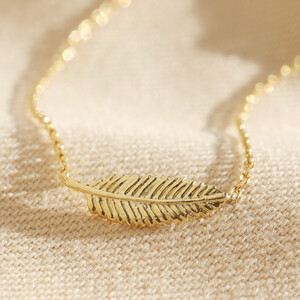 Delicate Gold Sterling Silver Feather Necklace