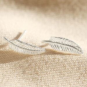 Delicate Silver Feather Stud Earrings