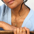 Triple Linked Ring Pendant Necklace in Gold on Model