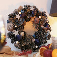 Lisa Angel Navy Blue Pinecone and Flower Wreath