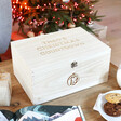 Lisa Angel Unique Personalised Wooden Christmas Countdown Advent Hamper Box