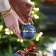 Personalised 'No Peeking' Secret Opening Bauble in Blue