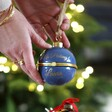 Lisa Angel Personalised 'No Peeking' Secret Opening Bauble in Blue