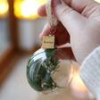 Lisa Angel Green Personalised Set of Three Christmas Dried Flower Baubles