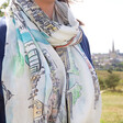 Model Wears Lisa Angel Colourful Owen Mathers Illustrated Norwich Scarf