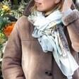 Model Wears Lisa Angel Colourful Owen Mathers Illustrated Norwich Scarf