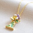 Personalised Floral 'I' Initial Necklace in Gold