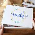 Lisa Angel Personalised Colourful Wreath Large White Wooden Box