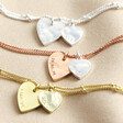 Lisa Angel Ladies' Personalised Double Hammered Heart Charm Bracelet