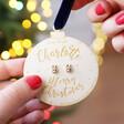 Lisa Angel Crystal Reindeer Stud Earrings on Personalised Wooden Bauble