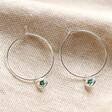 Lisa Angel Silver Personalised Birthstone Charm Hoop Earrings
