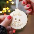 Lisa Angel Ladies' Santa Hat and Stocking Stud Earrings on Personalised Wooden Bauble