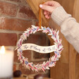 Festive Personalised Autumnal Printed Wooden Christmas Wreath