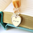 Lisa Angel Heart Personalised Charm and Ribbon Bookmark