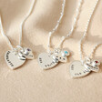 Lisa Angel Ladies' Personalised Sterling Silver Double Heart and Birthstone Charm Necklace