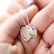 Personalised Sterling Silver Double Heart and Birthstone Charm Necklace with Model