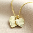 Lisa Angel Gold Personalised Double Hammered Heart Charm Necklace