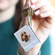Personalised Animal Photo Wooden Keyring With Model