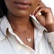 Personalised Double Hammered Heart Charm Necklace on Model