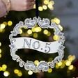 Personalised Vintage Number Wooden Christmas Wreath with Model