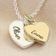 Personalised Solid Gold and Sterling Silver Heart Necklace