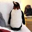 Lisa Angel with Jellycat Jazzy Penguin Soft Toy